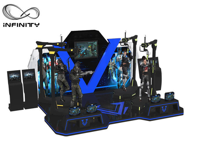 White Blue Theme Park Two Player VR Shooting Platform