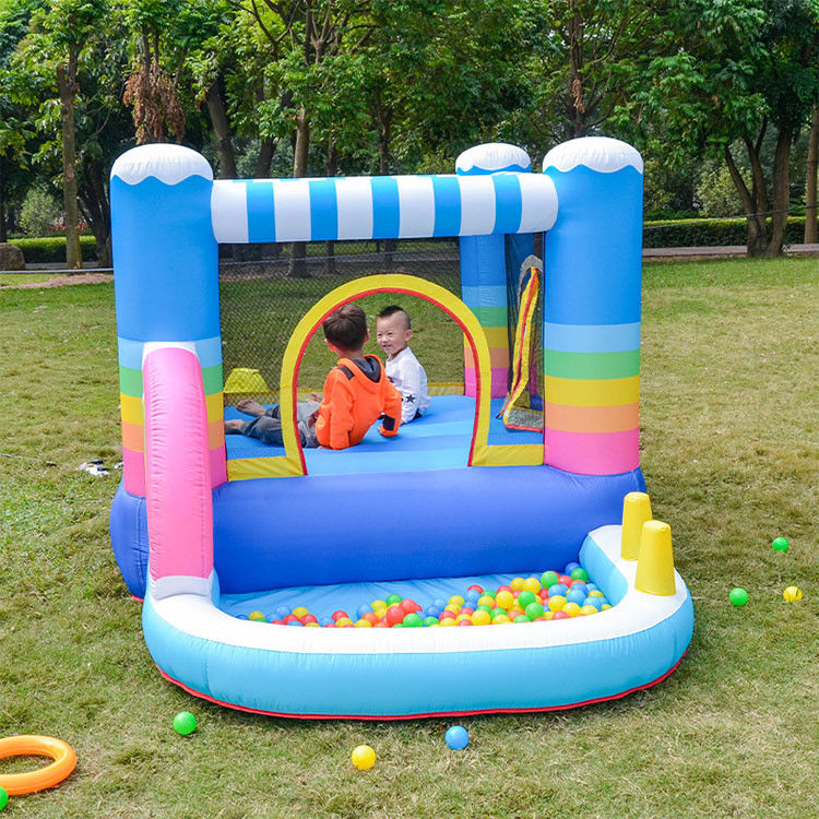 WholeSale Rainbow Kids Outdoor Party Bouncer Inflatable Bounce House with Gun Water Slide